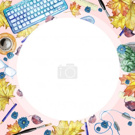 Watercolor background with objects for study and k...