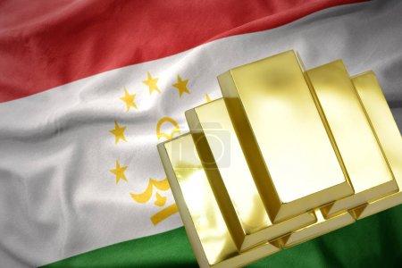 shining golden bullions on the tajikistan flag