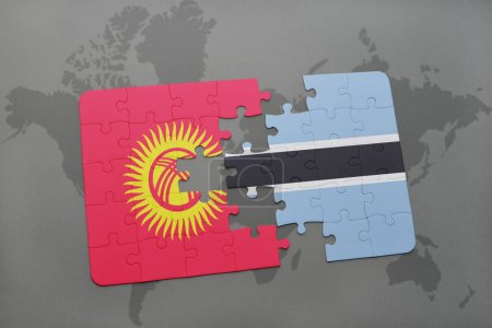 puzzle with the national flag of kyrgyzstan and botswana on a world map