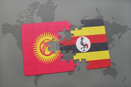 puzzle with the national flag of kyrgyzstan and uganda on a world map