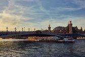 Boat tour on Seine river in Paris, France.