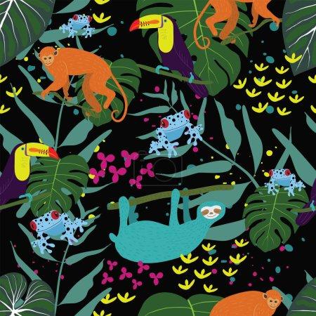 Illustration pour Forêt pluviale motif jungle tropicale avec des grenouilles de fléchettes empoisonnées colorées, toucan, singe, paresseux et feuillage . - image libre de droit