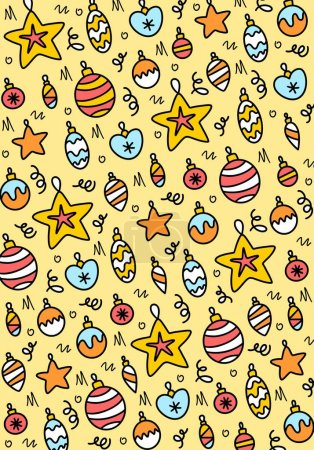 Illustration for New Year and Christmas colorful doodle background with different balls. Flat vector illustration - Royalty Free Image