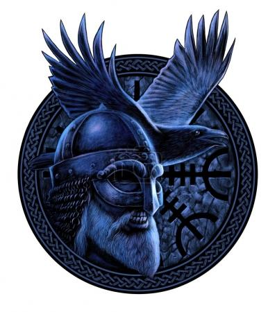 Norse God Odin with crow. Graphic illustration in ...