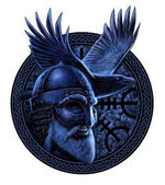 Norse God Odin with crow