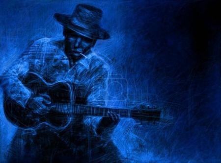Photo pour Guitariste dans un chapeau avec une guitare acoustique et une cigarette. Abstract blue Affiche d'illustration - image libre de droit