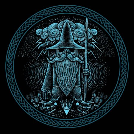 Photo pour Viking Dieu Odin avec les corbeaux et les loups illustration graphique de lance dans le ring. Ornement celtique. - image libre de droit