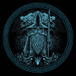 Viking God Odin with spear ravens and wolves Graphic illustration in the ring. Celtic ornament.