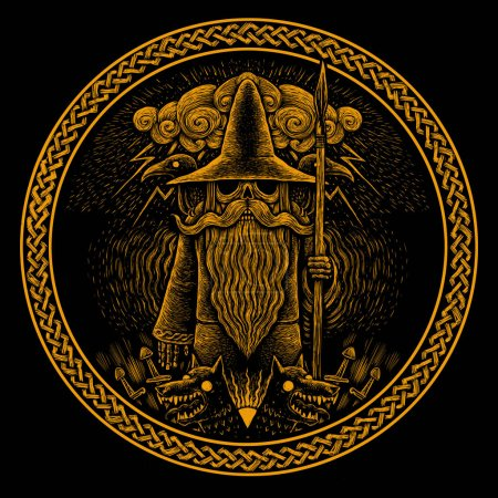 Viking God Odin with spear ravens and wolves Graph...