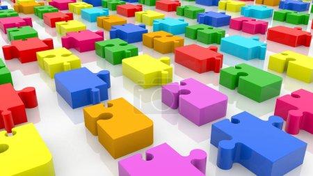 Foto de Raíces de coloridas piezas de rompecabezas - Imagen libre de derechos