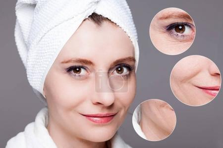 Photo for Beauty concept - skin care, anti-aging procedures, rejuvenation, lifting, tightening of facial skin - Royalty Free Image