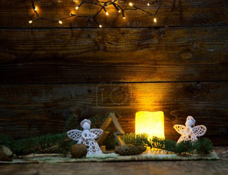 Photo for Christmas decorations and lights on wooden background - Royalty Free Image