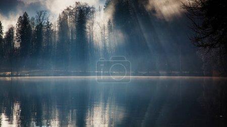 Photo pour Matin d'automne brumeux sur le lac Bled, Slovénie - image libre de droit