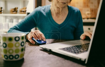 Photo for Elderly woman using laptop in her kitchen - Royalty Free Image