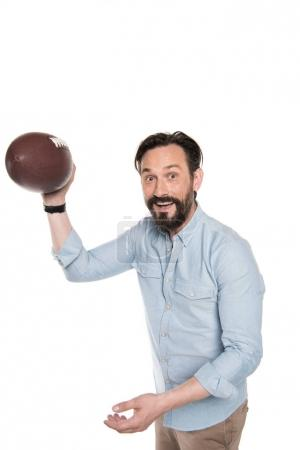 Bearded man with rugby ball
