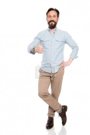 Bearded man gesturing