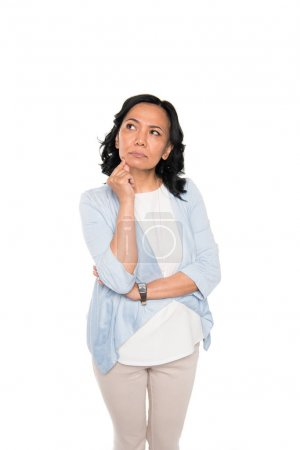casual asian woman in thoughtful pose