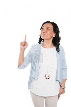 casual asian woman pointing with finger