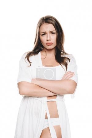 Sad woman in housecoat