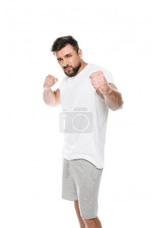 Muscular man ready to fight