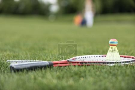 Badminton racquets and shuttlecock on grass