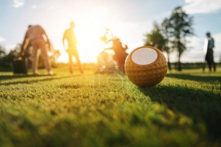 Photo for Close-up view of golf ball on grass and silhouettes of golfers playing behind - Royalty Free Image