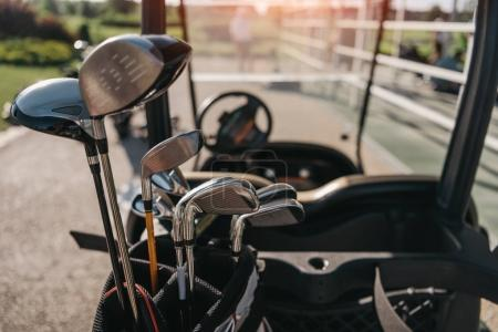 Golf club heads in bag