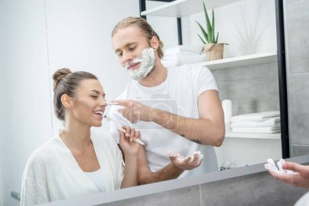 Couple doing morning routine