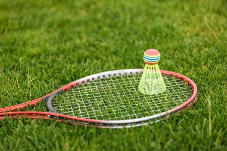 Photo for Close up of shuttlecock on badminton racket lying on green grass - Royalty Free Image