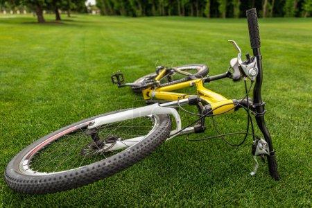 Foto de Cerca de la bicicleta de deporte moderno sobre hierba en el Parque - Imagen libre de derechos