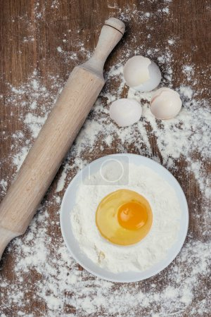 Flour and raw egg