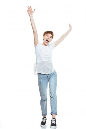Photo for Cheerful girl in white t-shirt raising hands isolated on white - Royalty Free Image