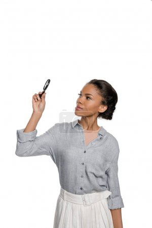 African american woman with magnifier