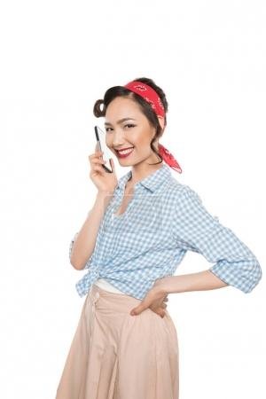 Asian woman with smartphone