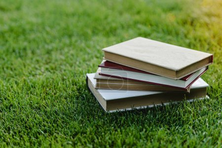 Pile of books on grass