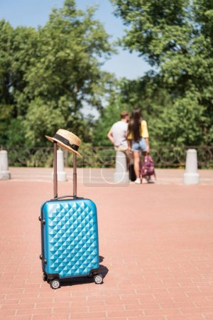 Suitcase and straw hat in park