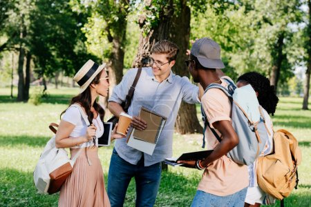 multiethnic students in park