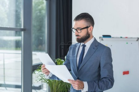 businessman analyzing documents