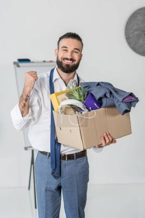 fired smiling businessman