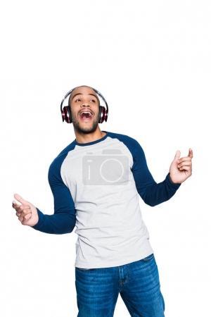 african american man in headphones