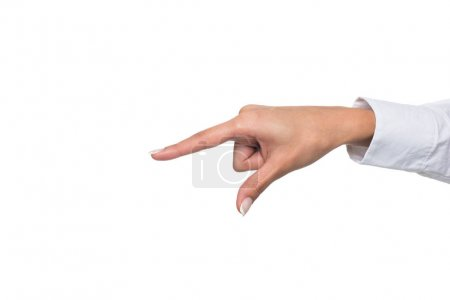 Photo for Cropped view of person gesturing signed language or pointing down, isolated on white - Royalty Free Image