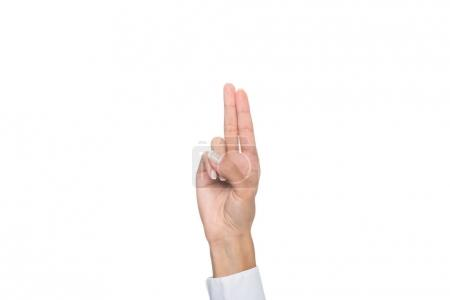 Photo for Cropped view of person gesturing signed language or pointing up, isolated on white - Royalty Free Image