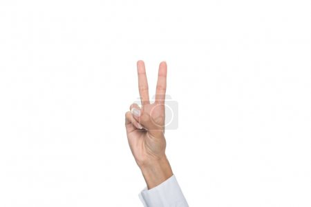 person showing two sign