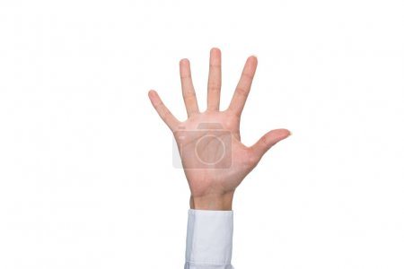 person showing five sign