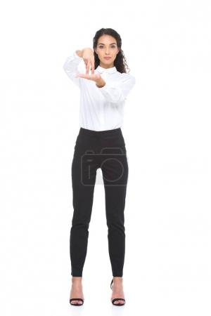 woman gesturing signed language