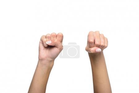 Foto de Vista recortada de persona gesticulando firmado idioma, aislado en blanco - Imagen libre de derechos
