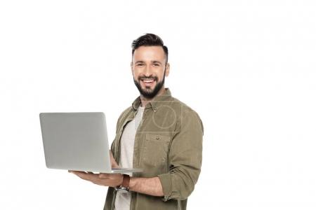 man with digital laptop