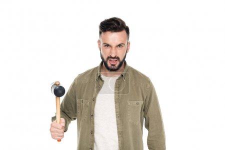 angry man with hammer