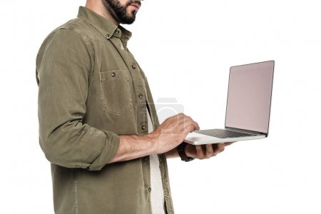 man with digital laptop