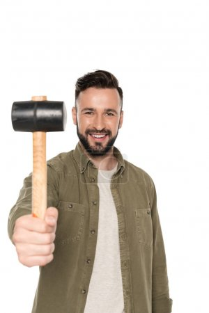 smiling man with hammer